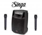 """AudioDesignPRO M2 15"""" kannettava akkukäyttöinen kaiutin+2x langaton mikki+Singa"""