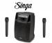 """AudioDesign M2 15"""" kannettava akkukäyttöinen kaiutin+2x langaton mikki+Singa"""