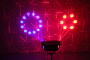 Ibiza Light 3in1 valo moonflower, strobe ja laser efekteillä