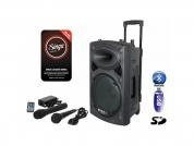 ibiza Sound 500W akkukaiutin + 2x mikrofoni + Singa nettikaraoke