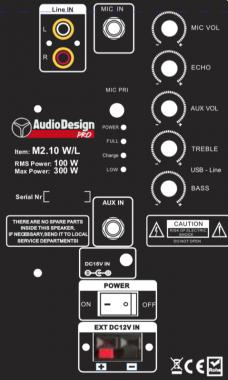 """AudioDesign M2 10"""" kannettava akkukäyttöinen kaiutin+2x langaton mikki+Singa"""