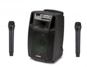 """AudioDesign M2 15"""" kannettava akkukäyttöinen kaiutin+2x langatonta mikkiä USB/BT/SD"""