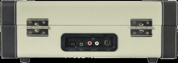 Valkoinen Levysoitin Kantolaukussa omilla kaiuttimilla BT/USB/SD